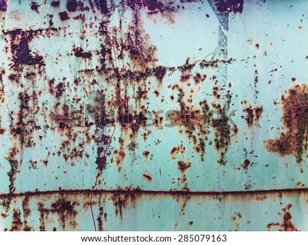 old withered rust texture with paint stains and scratches - stock photo