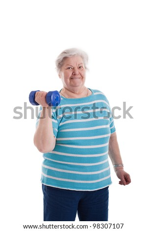 old woman draws a weight - stock photo