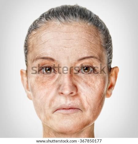 Old woman face portrait, aging process concept - stock photo