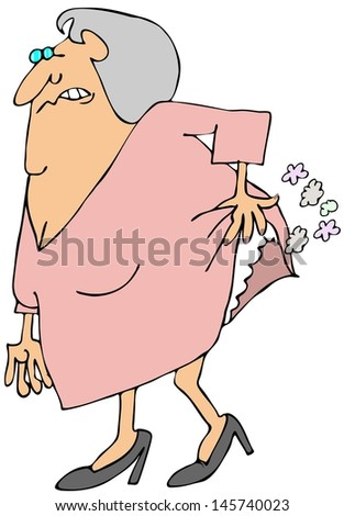 Old woman passing gas - stock photo
