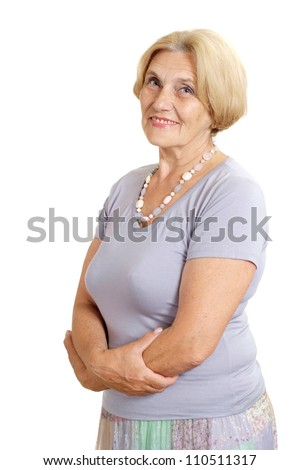 Old woman relaxing at home on a white background - stock photo
