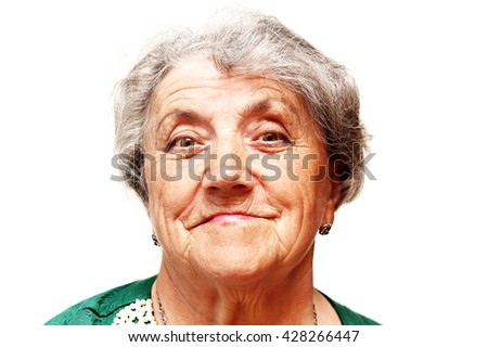 Old woman smile face - stock photo