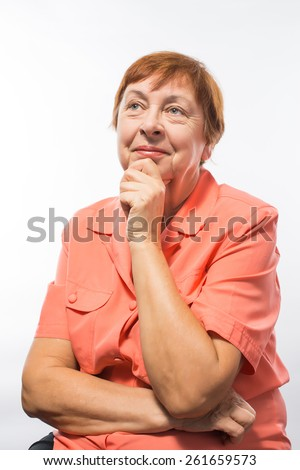 old woman thought surprise - stock photo