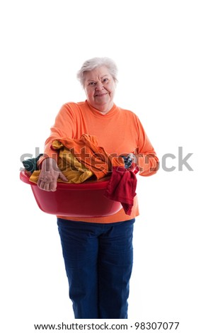 old woman with colored clothes - stock photo