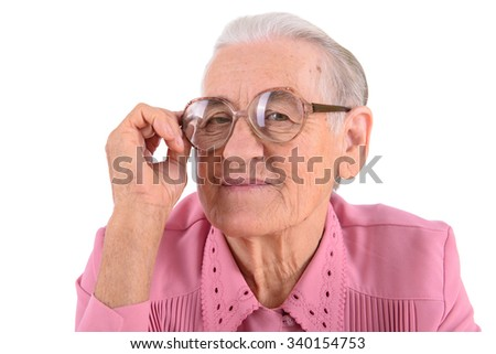 old woman with glasses. portrait isolated on white background - stock photo