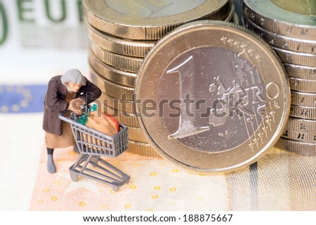Old woman with shopping cart on a euro coin with banknotes / Woman and Euro Money - stock photo
