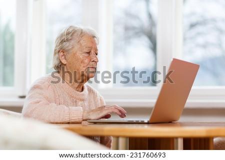 Old woman working on laptop computer at home, Grandma using notebook and searching on internet site - stock photo