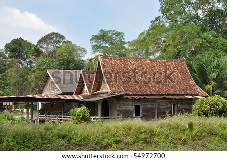 Old Wood Barrack Country Thailand - stock photo