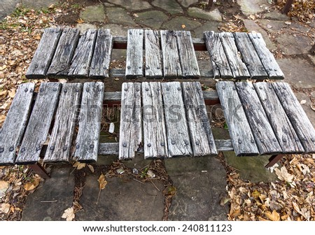 Old wood bench - stock photo