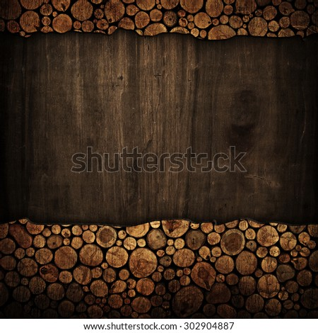 old wood board with stumps frame - stock photo
