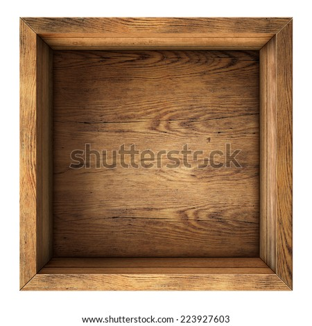 old wood box top view isolated on white - stock photo