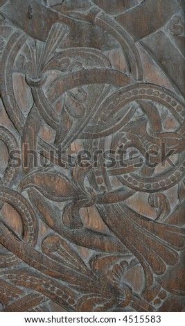 old wood carving - stock photo
