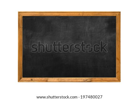 Old wood chalk board isolate white background - stock photo