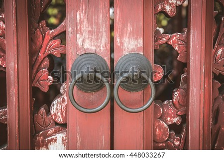 Old wood door  chinese style - stock photo