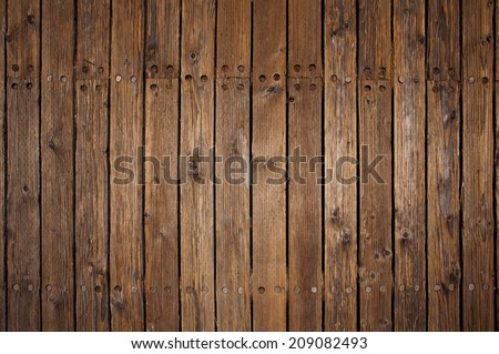 Old wood flooring on a pier in San Francisco - stock photo