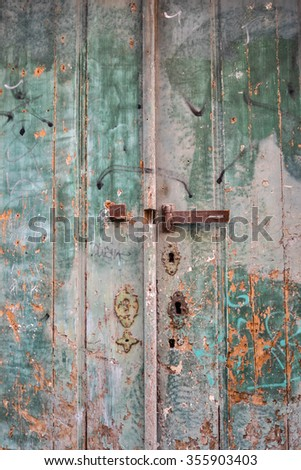 Old wood green doors closed with fade paint in Lisbon, Portugal - stock photo
