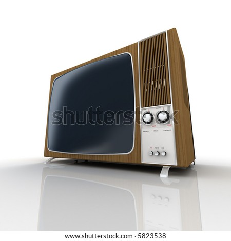 Old wood-panelled vintage television - stock photo
