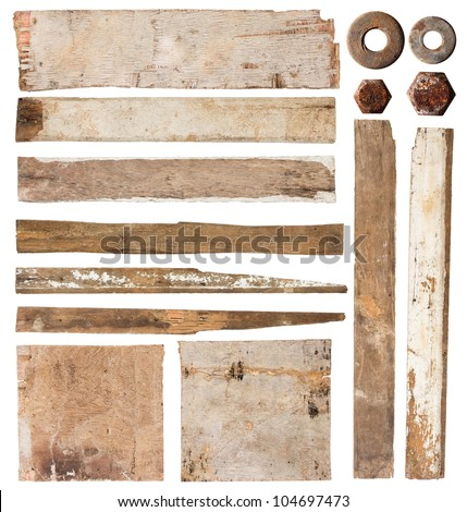 Old wood plank isolated on white background (Save Paths For design work) - stock photo