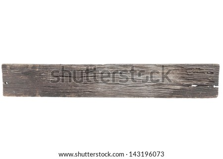 Old wood plank isolated on white with clipping path - stock photo