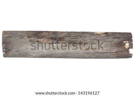 Old wood plank isolated on white with clipping path3 - stock photo