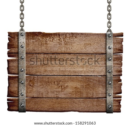 old wood signboard hanging on chain - stock photo