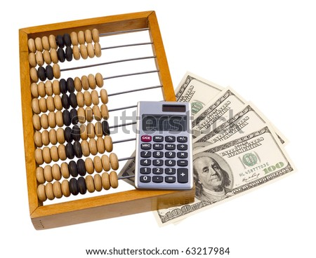 old wooden abacus, calculator and U.S. dollars,isolated on white with clipping path. - stock photo