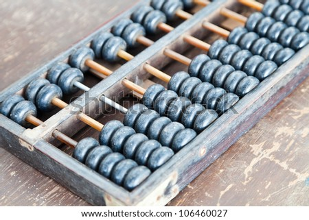 old wooden abacus close up - stock photo
