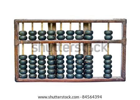 old wooden abacus isolated on white background - stock photo