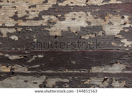 old wooden background with peeling paint - stock photo