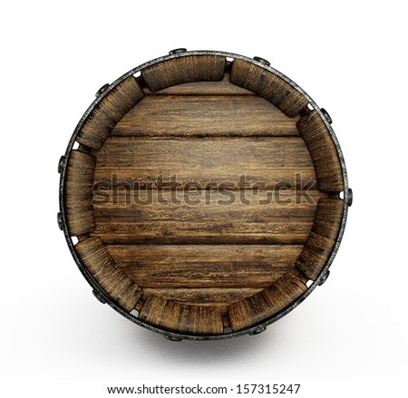 old wooden barrel isolated on a white  - stock photo