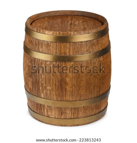 Old wooden barrel isolated on white background - stock photo