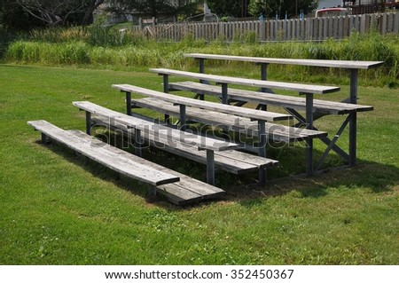 Old wooden bleacher  - stock photo