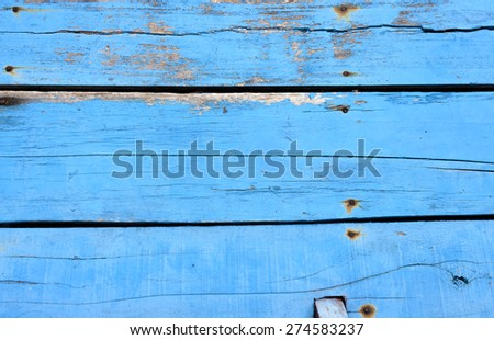 Old wooden blue boat floor background - stock photo