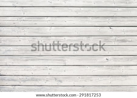 Old wooden board with nails in white, good structure and detail - stock photo