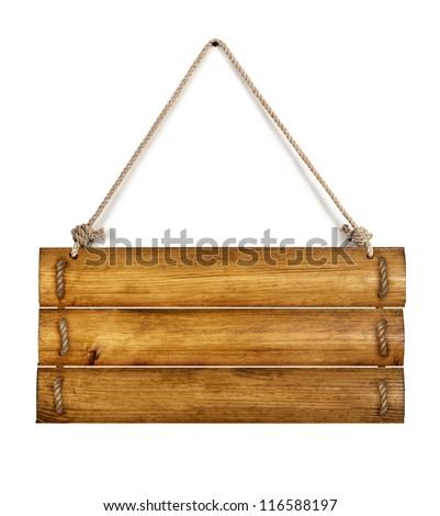 Old wooden board with rope - stock photo