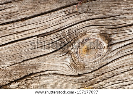 Old wooden board with Timber Knot for Background or Texture - stock photo