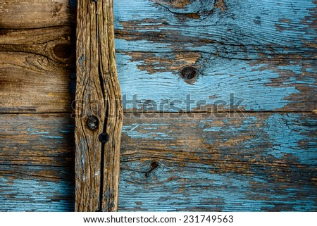 Old Wooden Boards, hammered rusty nails, background  - stock photo