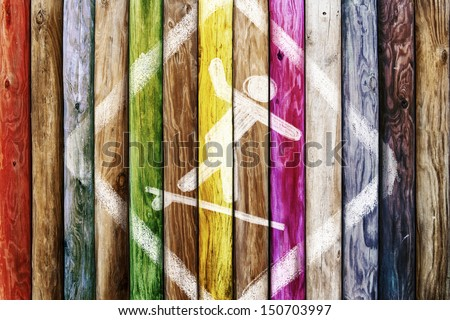 Old wooden boards of multicolor, symbol surf - stock photo