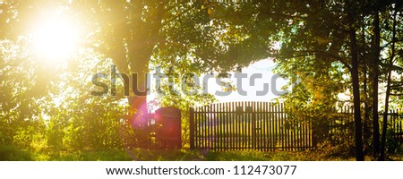 Old wooden boundary fence with nails on sunny day - stock photo