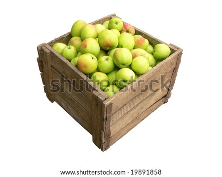 Old wooden box full of apples on white background - stock photo