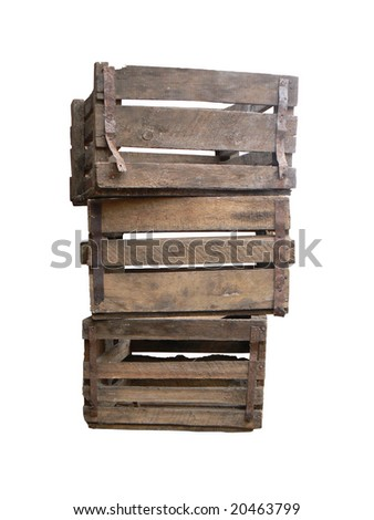 Old wooden boxes - stock photo