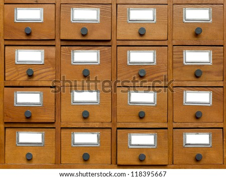 Old wooden card catalogue - stock photo