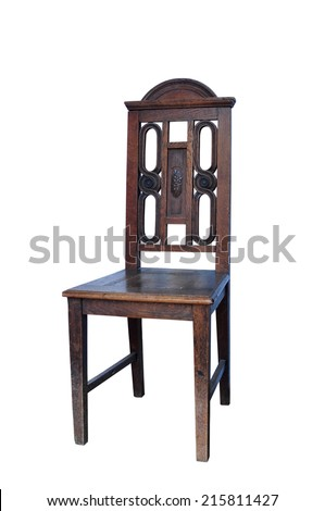 old wooden chair furniture isolated over white background - stock photo