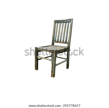 Old wooden chair isolated on white background. - stock photo