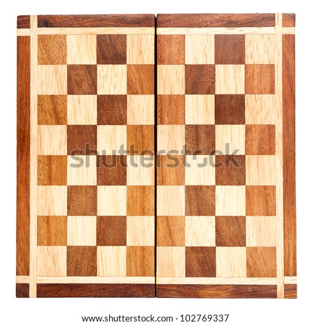 Old wooden chess board isolated on white background - stock photo