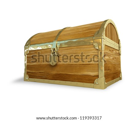 old wooden chest on a white background - stock photo