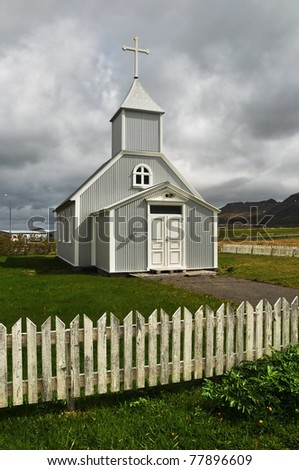 Old wooden church, Iceland - stock photo