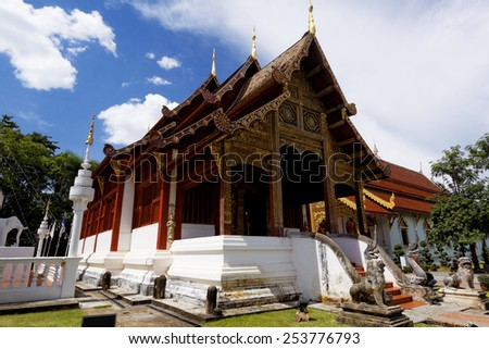 Old wooden church of Wat Lok Molee Chiang mai Thailand - stock photo