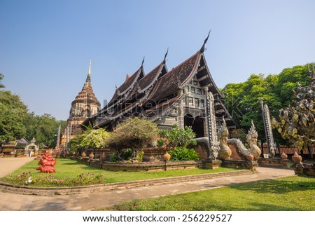 Old wooden church of Wat Lok Molee Chiang mai Thailand , Create a traditional - stock photo