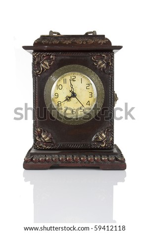 Old wooden clock isolated on white background - stock photo